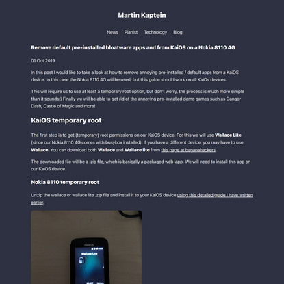 Remove default pre-installed bloatware apps and from KaiOS on a Nokia 8110 4G - Martin Kaptein
