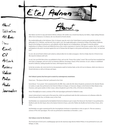 Etel Adnan | A resource for information, news, writing, artwork & scholarship relating to the work of poet & painter, Etel Adnan.Etel Adnan | A resource for information, news, writing, artwork & scholarship relating to the work of poet & painter, Etel Adnan.
