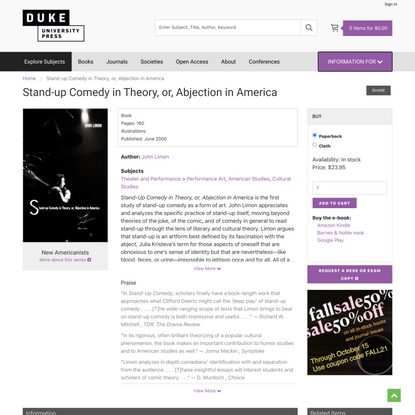 Duke University Press - Stand-up Comedy in Theory, or, Abjection in America