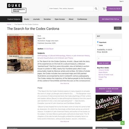 Duke University Press - The Search for the Codex Cardona