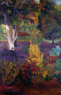 Marquesan landscape with horses, 1901   Paul Gauguin
