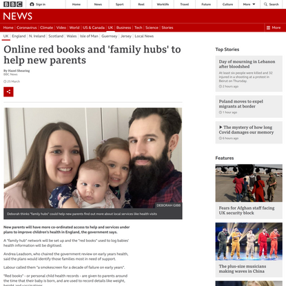 Online red books and 'family hubs' to help new parents
