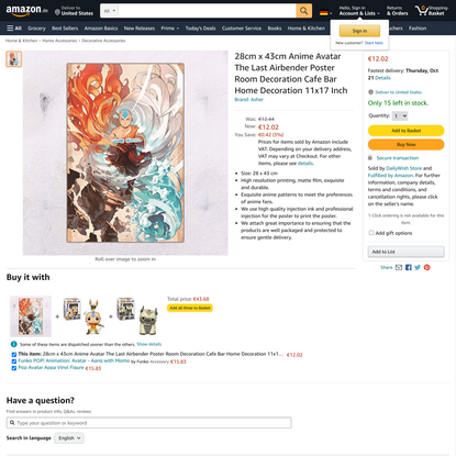 28cm x 43cm Anime Avatar The Last Airbender Poster Room Decoration Cafe Bar Home Decoration 11x17 Inch