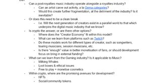 The Solution Space for a Post-Royalties Music Industry