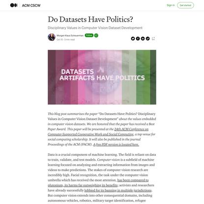 Do Datasets Have Politics?