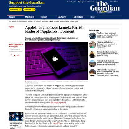 Apple fires employee Janneke Parrish, leader of #AppleToo movement | Apple | The Guardian