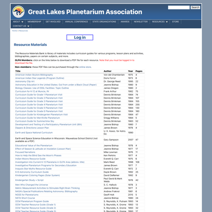 Resource Materials | Great Lakes Planetarium Association