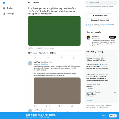 """Brad Frost on Twitter: """"Atomic design can be applied to any user interface. Here's what it looks like to apply atomic design..."""