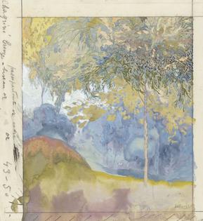 Tree-filled landscape, Georges de Feure, 1878 - 1943 watercolor brush, h 310mm × w 290mm More details