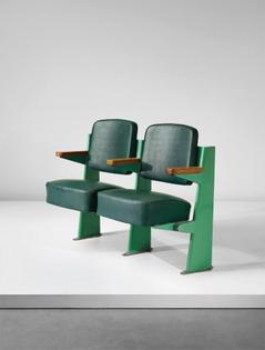 Jean Prouvé - Row of two lecture theatre chairs, designed for the Faculté des Lettres, Université de Besançon, France