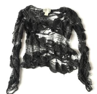 nozomi ishiguro distressed wool intricate sweater