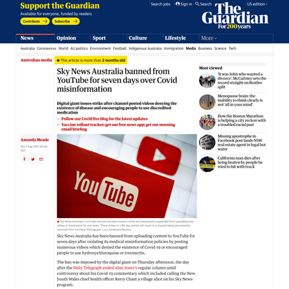 Sky News Australia banned from YouTube for seven days over Covid misinformation | Australian media | The Guardian