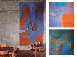 'Jugendherberge Zürich', Youth Hostel Wollishofen Zürich, Switzerland; 1960-66 | Max Hellstern, mural artist; Ernst Gisel, architect