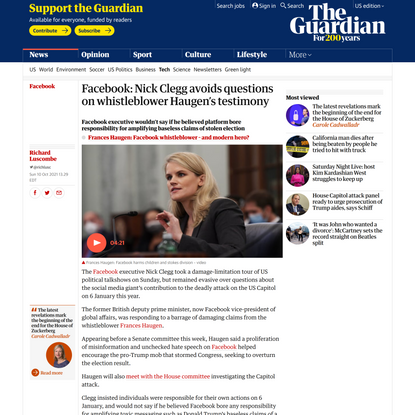 Facebook: Nick Clegg avoids questions on whistleblower Haugen's testimony | Facebook | The Guardian
