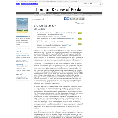 LRB · John Lanchester · You Are the Product: It Zucks!