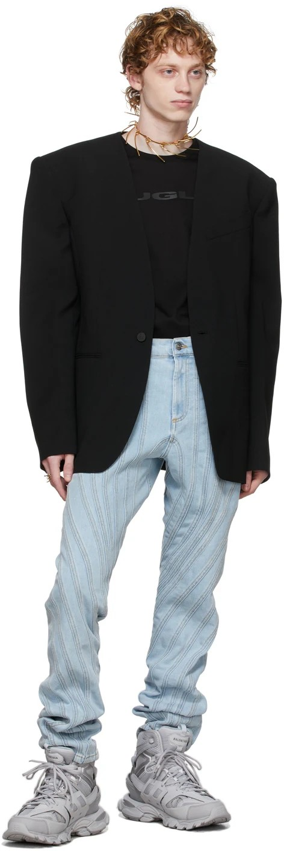Mugler Wool Collarless Blazer