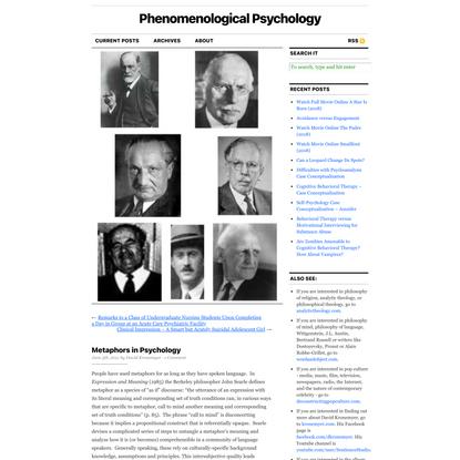 Metaphors in Psychology   Phenomenological Psychology