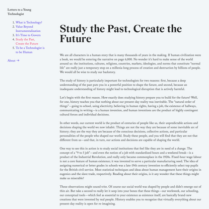 Study the Past, Create the Future — Letters to a Young Technologist