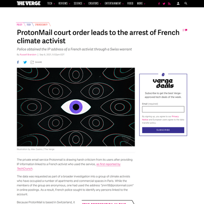 ProtonMail court order leads to the arrest of French climate activist - The Verge