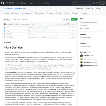 GitHub - foranetworks/protocol: ActivityPub with governance