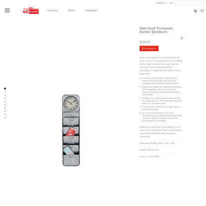 $259 Wall Shelf Thinktank Kontor 30x124cm - KARE Design