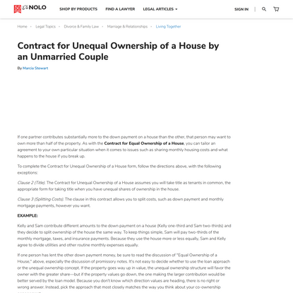 Contract for Unequal Ownership of a House by an Unmarried Couple | Nolo