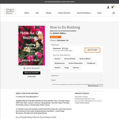 How to Do Nothing by Jenny Odell: 9781612198552   PenguinRandomHouse.com: Books