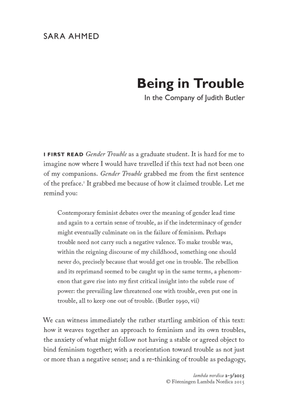 """Sara Ahmed, """"Being In Trouble: In the Company of Judith Butler"""""""