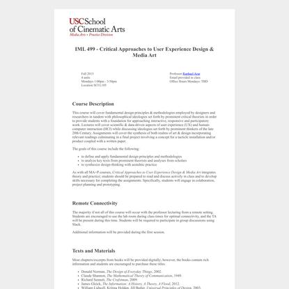 IML 499 Syllabus Fall 2015