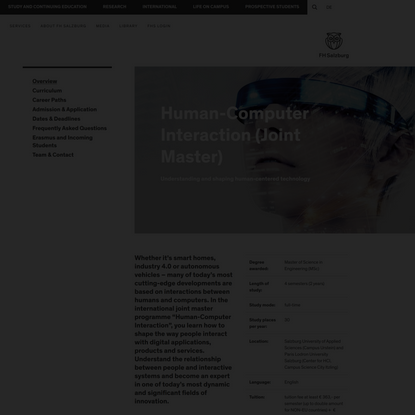 Human-Computer Interaction (Joint Master)   FH Salzburg
