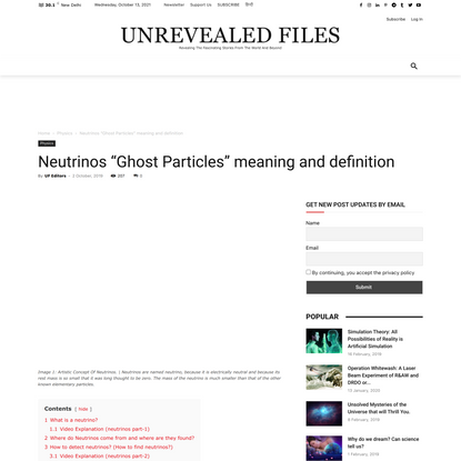"""Neutrinos """"Ghost Particles"""" meaning and definition - Unrevealed Files"""