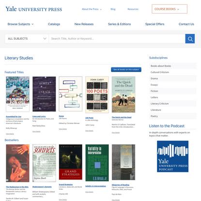Literary Studies | Yale University Press