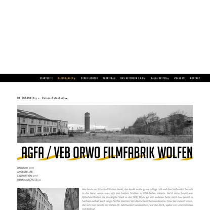 AGFA / ORWO Filmfabrik Wolfen