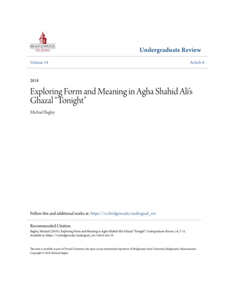 """Exploring Form and Meaning in Agha Shahid Ali's Ghazal """"Tonight"""" by Michael Bagley"""