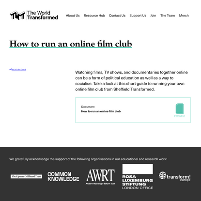 TWT Resource Hub // How to run an online film club