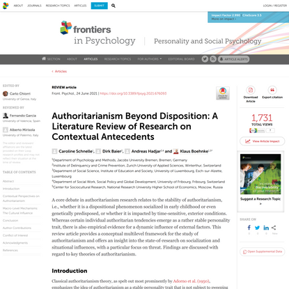 Authoritarianism Beyond Disposition: A Literature Review of Research on Contextual Antecedents,  by Caroline Schnelle, Dirk Baier, Andreas Hadjar and Klaus Boehnke