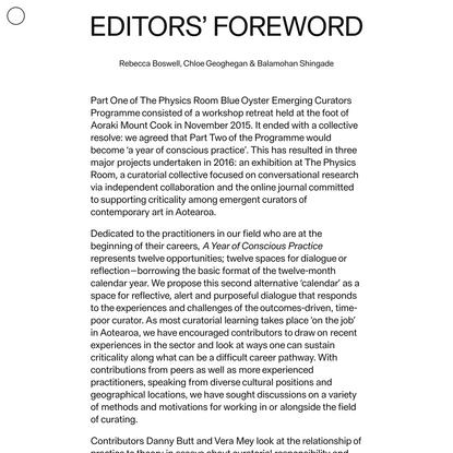 Editors' Foreword