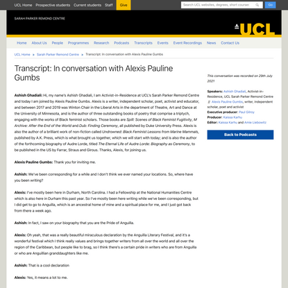 Transcript: In conversation with Alexis Pauline Gumbs