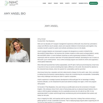 Amy Ansel Bio - National Industrial Hemp Council