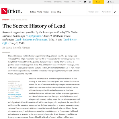 The Secret History of Lead