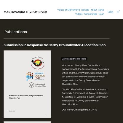 Publications — MARTUWARRA FITZROY RIVER