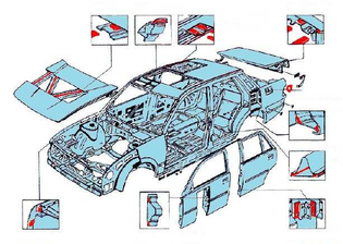 glued parts of a car