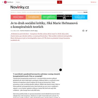 Je to druh sociální kritiky, říká Marie Heřmanová okonspiračních teoriích - Novinky.cz