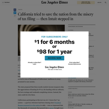 California tried to save the nation from the misery of tax filing — then Intuit stepped in