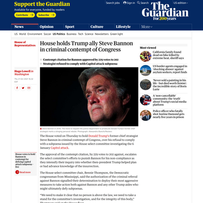 House holds Trump ally Steve Bannon in criminal contempt of Congress   House of Representatives   The Guardian