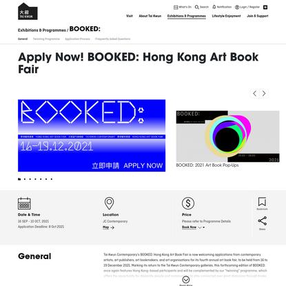 Apply Now! BOOKED: Hong Kong Art Book Fair