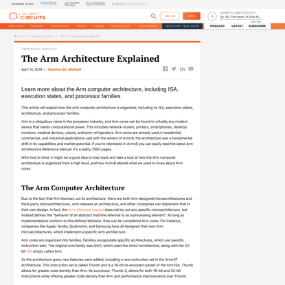 The Arm Architecture Explained - Technical Articles