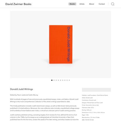 Donald Judd: Writings   David Zwirner Books