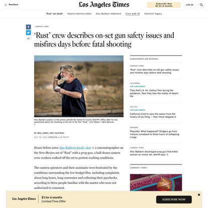 Alec Baldwin 'Rust' camera crew walked off before shooting - Los Angeles Times