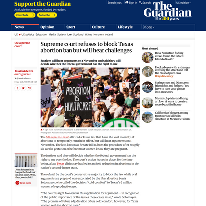 Supreme court refuses to block Texas abortion ban but will hear challenges   US supreme court   The Guardian